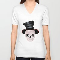 mad hatter V-neck T-shirts featuring Mad Skull Hatter by Texnotropio