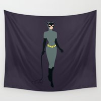 catwoman Wall Tapestries featuring Catwoman by karla estrada