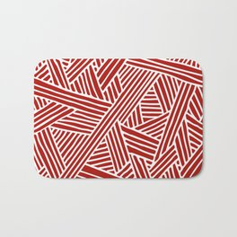 Abstract Navy Red & White Lines and Triangles Pattern- Mix and Match with Bath Mat