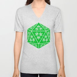 D20 Pot Leaf Crit Dice Unisex V-Neck