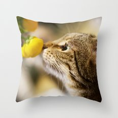 Tabby and the Flower Throw Pillow