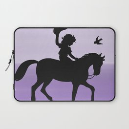 Girl and horse silhouette lavender Laptop Sleeve