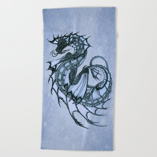 Tsunami Sea Dragon ~ Ice Blue Beach Towel