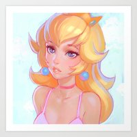 princess peach Art Prints featuring Princess Peach by Ilya Kuvshinov