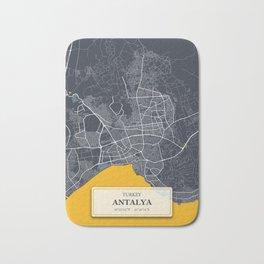 Antalya,Turkey City Map with GPS Coordinates Bath Mat