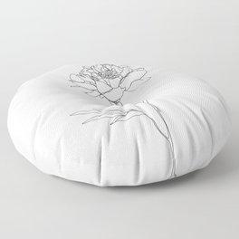Botanical floral illustration line drawing - Lorna White Floor Pillow
