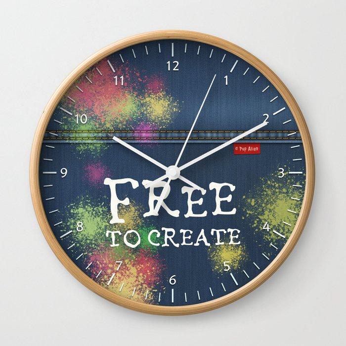 Denim Jeans Free To Create Wall Clock By Popalien Society6