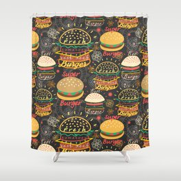 Graphic seamless pattern bright tasty burgers on a dark background Shower Curtain