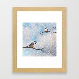 chickadees in snow Framed Art Print