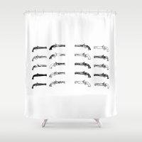 guns Shower Curtains featuring old guns by Dragonheart