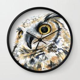 Owl Great Horned Bird of Prey Owls Animals Bird Wildlife Wall Clock