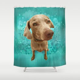 PARKER POSEY (aqua) puffy cloud series Shower Curtain