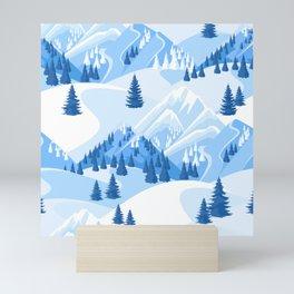 Fresh Snow Mountain Ski Resort Evergreens Mini Art Print