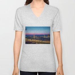 Twilight - Arno River, Florence Italy Landscape by Jeanpaul Ferro Unisex V-Neck
