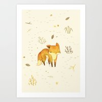background Art Prints featuring Lonely Winter Fox by Teagan White