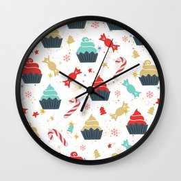 Colorful Christmas cupcakes and candy cane pattern Wall Clock