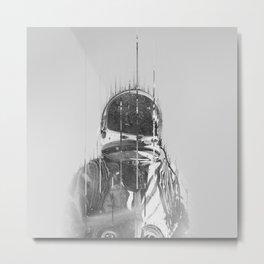 The Space Beyond B&W Astronaut Metal Print