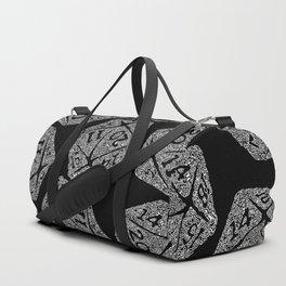 d20 - white on black - icosahedron doodle pattern Duffle Bag