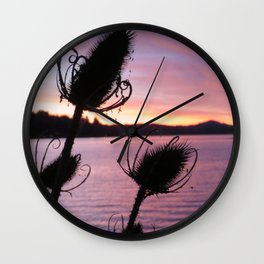 Thistle Silhouette Sunset Reflections Wall Clock