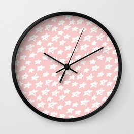 Stars on pink background Wall Clock