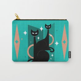 Fashionable Felines Atomic Age Black Kitschy Cats Carry-All Pouch