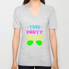 This Party Glows Neon Unisex V-Neck