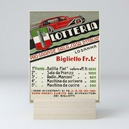 cartellone lausanne lotteria pro sala casa Mini Art Print