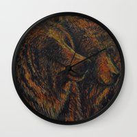 bears Wall Clocks featuring Bears by lyneth Morgan
