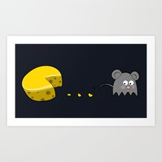 Retro Video Game Humor Cheese Man Art Print