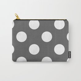Large Polka Dots - White on Dark Gray Carry-All Pouch