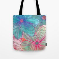 tropical Tote Bags featuring Between the Lines - tropical flowers in pink, orange, blue & mint by micklyn