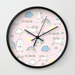 I'm a Unicorn - light pink Wall Clock