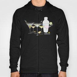 Shaken Not Stirred - Hand-Drawn Martinis - Gray Background w- Texture Hoody