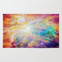 nebula Area & Throw Rugs featuring nEBula : Colorful Orion Nebula by 2sweet4words Designs
