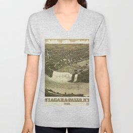 NIAGARA FALLS New-York city old map Father Day art print poster Unisex V-Neck