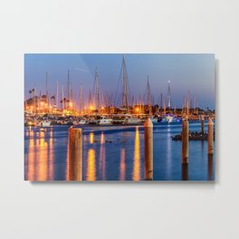 Marina Del Rey Harbor At Night Metal Print