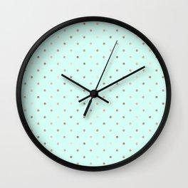 Mint & Rose Gold Polka Dot Pattern Wall Clock