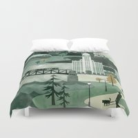 travel poster Duvet Covers featuring Chicago Travel Poster Illustration by ClaireIllustrations
