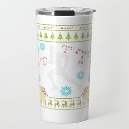 Runner Christmas Ugly Sweater Trail Runner 5k 13.1 Run Travel Mug