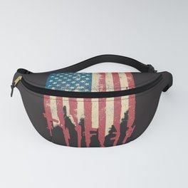 Distressed United States of America USA Flag Grunge Guns Fanny Pack