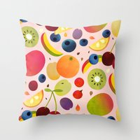 fruit Throw Pillows featuring Fruit by Malin Koort