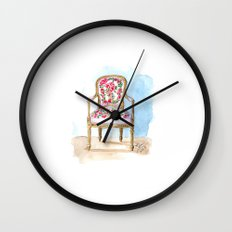 The Rose Chair Watercolor Wall Clock