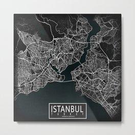 Istanbul City Map of Turkey in Dark Grunge Metal Print