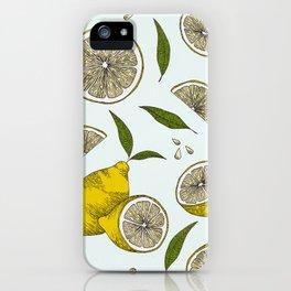 Blue Lemonade Pattern iPhone Case