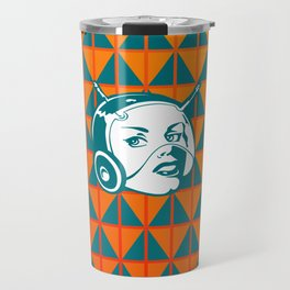 Faces: SciFi lady on a teal and orange pattern background Travel Mug