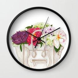 Flowers in Designer Handbag Wall Clock