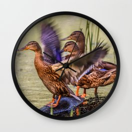 Ducks Flapping Wall Clock