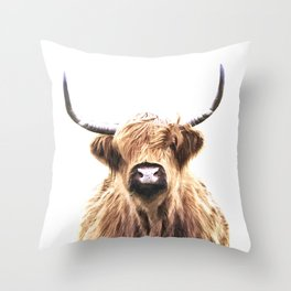 Highland Cow Portrait Throw Pillow