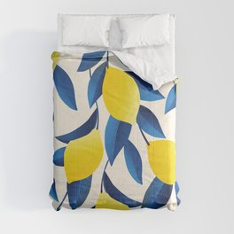 Yellow Limons and Blue Leaves Comforters