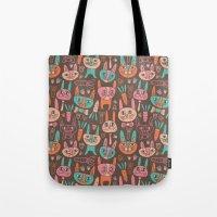 bunnies Tote Bags featuring Bunnies by Olya Yang